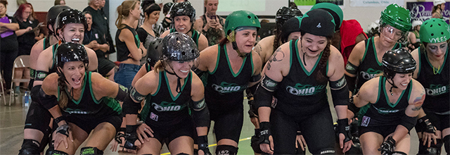 OHRD roller derby skaters grouped together for introductions